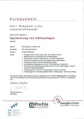 """Zertifikat ProFrio Kälteexperte """"Optimierung von Kälteanlagen"""""""